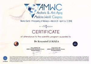 Certyfikat XIV AMWC Monte Carlo 2016