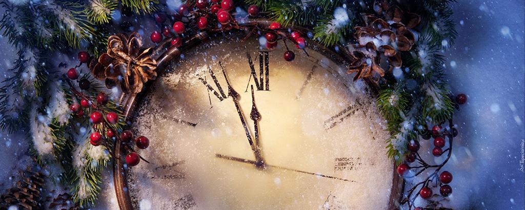 Ośnieżony świąteczny zegar