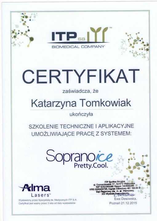 Certifkat Katarzyna Tomkowiak Soprano Ice Poznań Biogenica